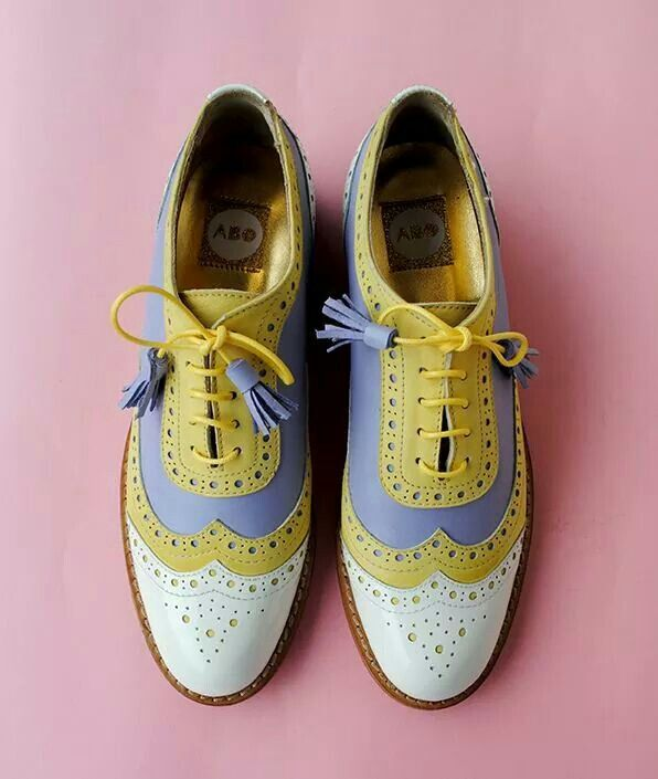 ABO beige, lilac, yellow color brogues #shoes #brogues #oxfordshoes #oxfords