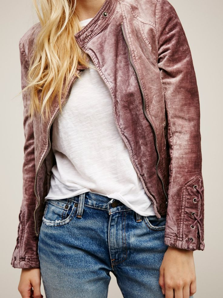 Lacey Velvet Jacket | Lovely washed velvet jacket with pretty lace-up details on the side and sleeves. Side exposed pockets with zipper closures. Lined.