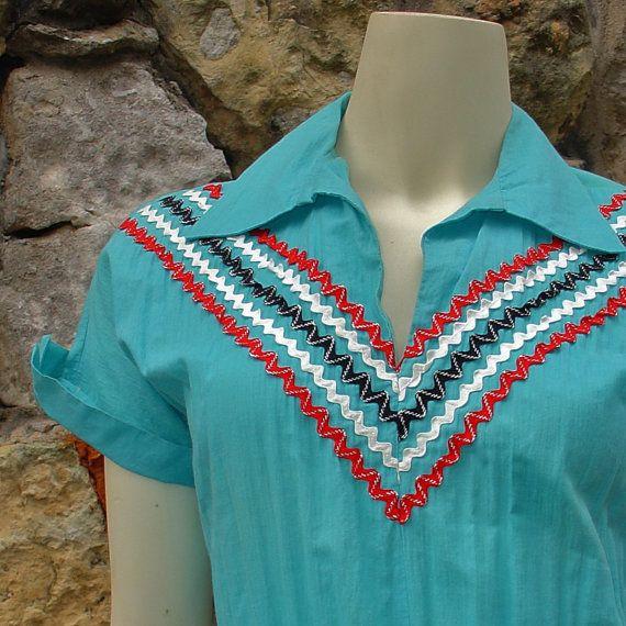 Turquoise 1950s rick rack patio or squaw dress Full Skirt tiered Vintage Arizona Fashion Rockabilly