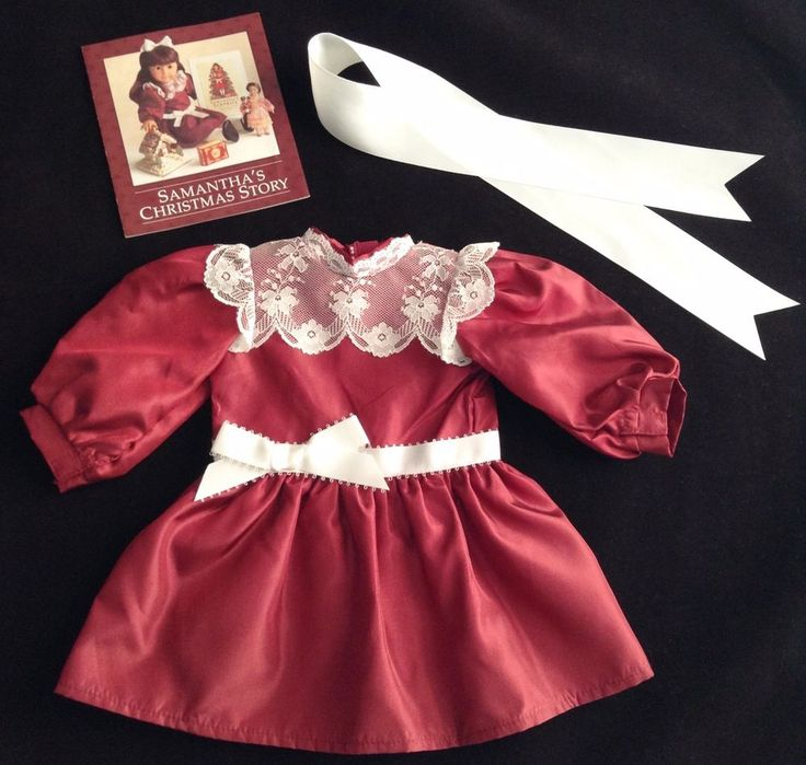 American Girl Doll SAMANTHA'S CRANBERRY RED CHRISTMAS DRESS w/ White RIbbon, EUC #AmericanGirl