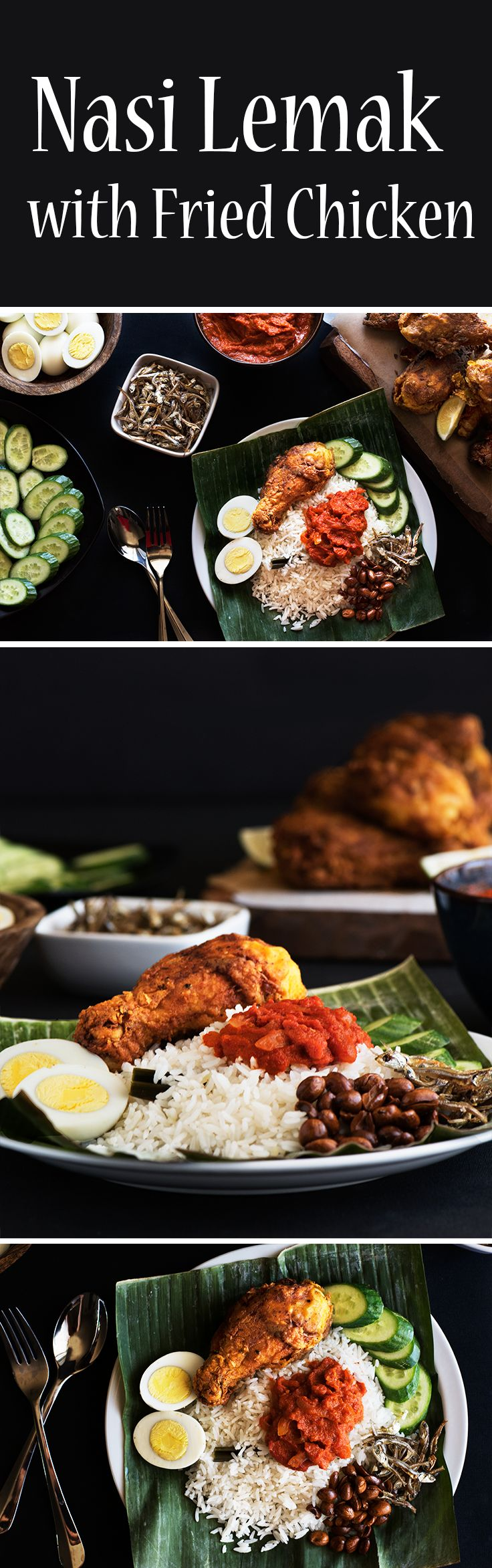 Fragrant coconut rice with sambal (a spicy sauce), eggs, cucumber, crispy anchovies & peanuts and a special crispy curried fried chicken.