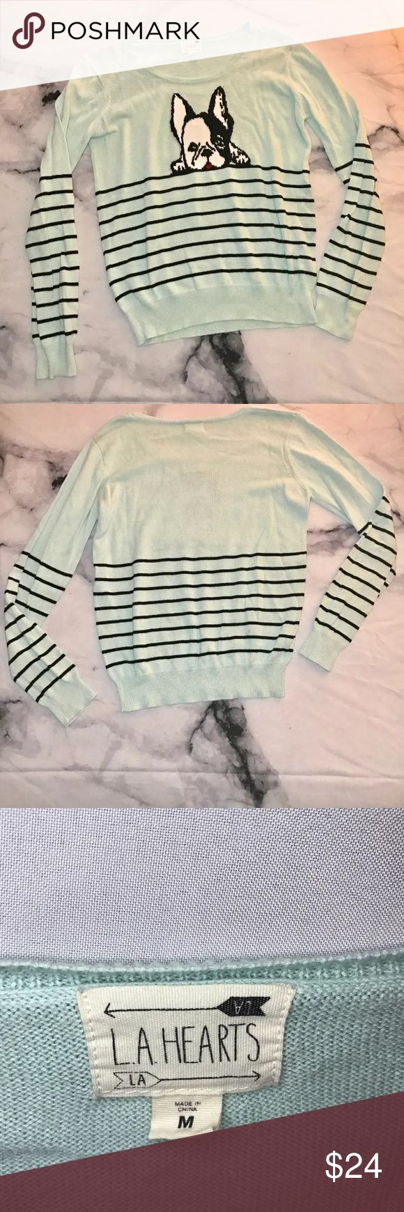 LA Hearts French Bulldog Mint Green Sweater M Gently Worn. Good used condition! True to size! 🖤THANK YOU for supporting the dream of business ownership of 2 BFFs! 🖤DON'T PASS THIS UP! Make us an offer! 🖤We ship daily M-Sat, so youll get it on time! 🖤no price discussion in comments please🖤 use offer button 🖤reasonable offers accepted 🖤low offers countered🖤offers below 50% of asking price are auto declined🖤 LA Hearts Sweaters