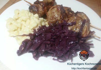 Rotkohl mit Filetspiess und Knöpfle – Küchentigers Rezepte Blog