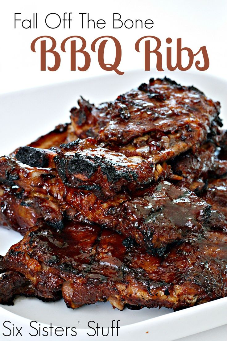 Fall Off The Bone BBQ Ribs from SixSistersStuff.com. Only two ingredients and a slow cooker are needed to make these amazing ribs!