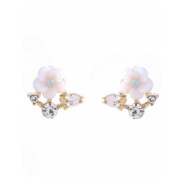 $2.79 Rhinestone Shell Flower Stud Earrings - Golden