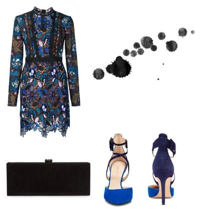 """Blue Carpet."" by djamilladjamilla on Polyvore featuring mode, self-portrait, Nine West en Edie Parker"