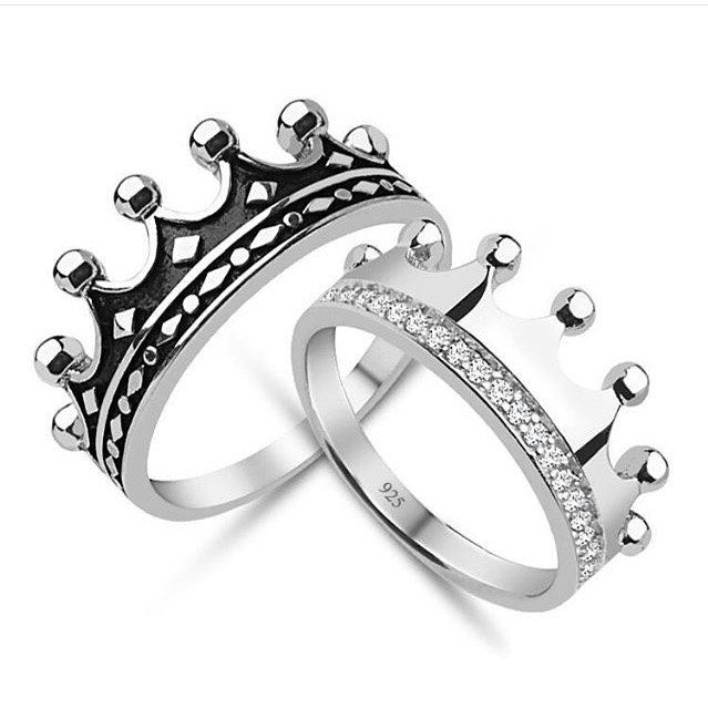King Queen Crow Ring Set Gold Crown Ring Gold Crown Ring Set 925k Silver Decorated With High Quality Zircon King Ring Queen Rings Topaz Engagement Ring