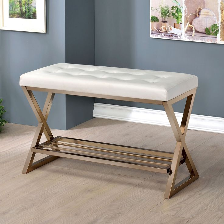 Furniture of America Stelly II Contemporary Accent Bench with Shoe Rack
