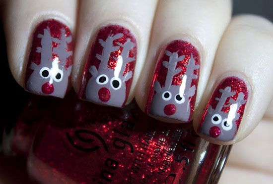 girlshue - 15 Simple & Easy Christmas Nail Art Designs & Ideas 2012 For Beginners & Learners