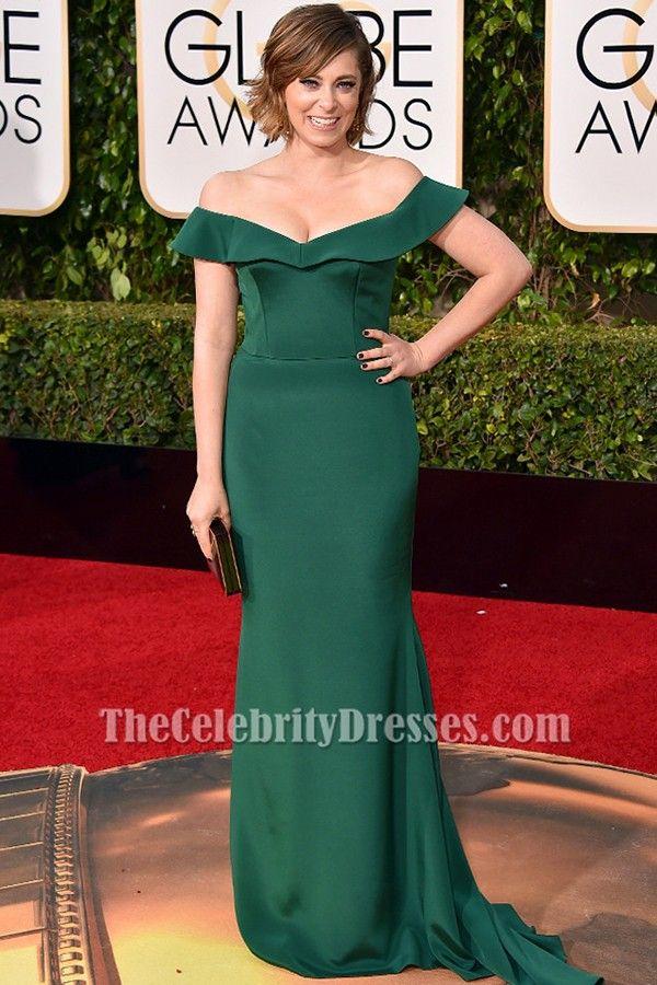 Rachel Bloom Dark Green Off-the-shoulder Formal Dress golden globes 2016 - TheCelebrityDresses