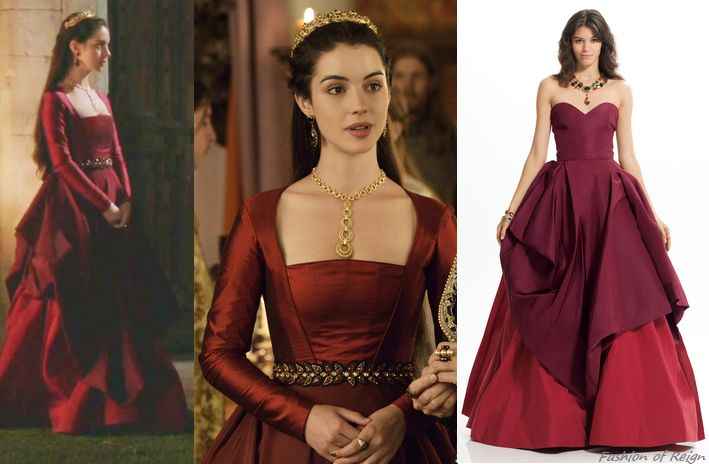 """In the episode 2x04 (""""The Lamb and the Slaughter"""") Queen Mary wears this sold out Oscar de la Renta Silk Faille Gown. It pays a tribute to the late Oscar de la Renta who is one of Reign's favorite designers. The gown's bodice was remade by Reign Costume Department. Worn with the Eugenia Kim headband, Trifari necklace, vintage earrings, Deepa Gurnani belt, Gillian Steinhardt labyrinth and signet rings."""
