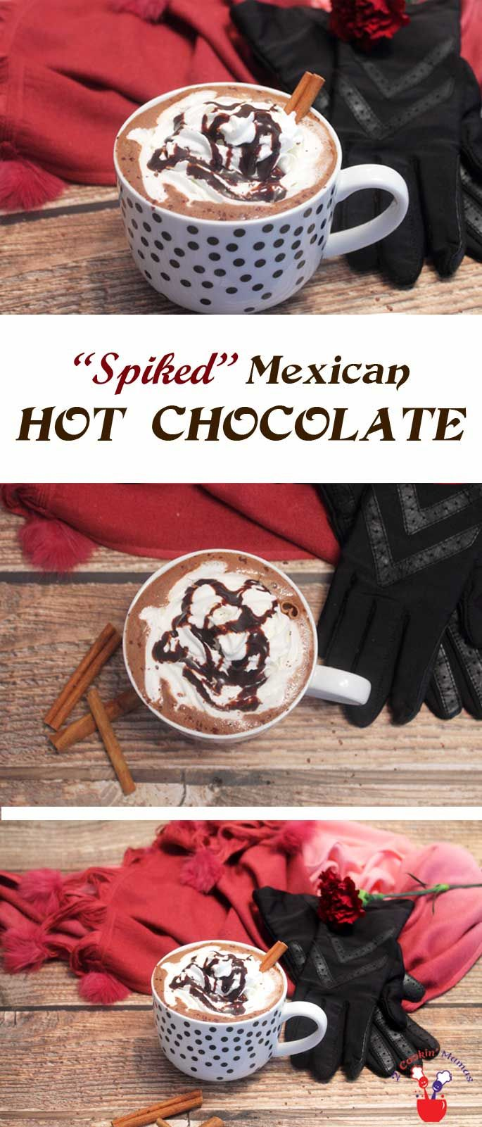 Spiked Mexican Hot Chocolate is the perfect drink for a cold night. Rich hot chocolate, flavored with cinnamon, is kicked up a notch with coffee tequila. via @2CookinMamas