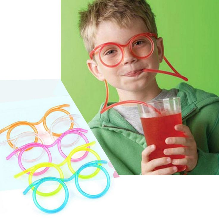Big sale Creative Funny Soft Glasses Straw Unique Flexible Drinking Tube Kids Party Accessories Random Color