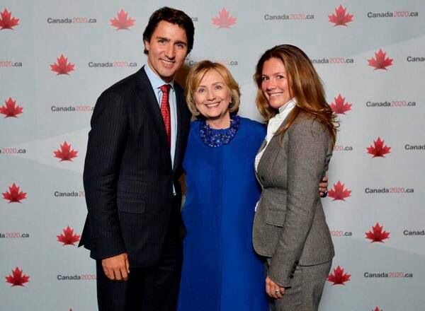 Justin And Sophie Trudeau with Hilary Clinton