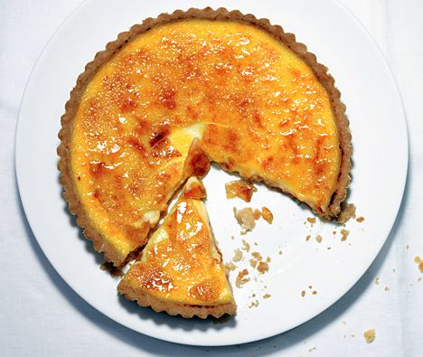 "Michael McCarty's (Michael's, in Santa Monica) Crème Brûlée Tart recipe - ""The smooth custard in a flaky shell with a crackling burnt-sugar top was one of his most popular desserts."""
