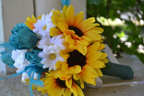 Toss or Bridesmaid Bouquet Rustic Sunflower by MyDayBouquet, $30.00
