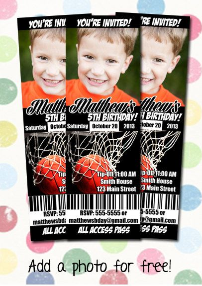 wedding ring Basketball Birthday Party Invitation Ticket Style You Print Digital File on Etsy