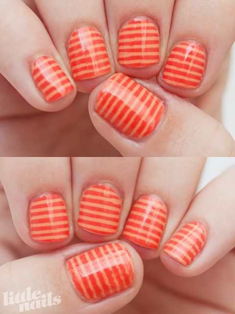 fun orange stripe nails!