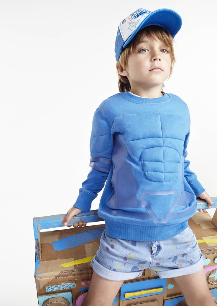 Stella McCartney Kids discover their inner superhero with the Rowbow muscles sweatshirt from our #SS16 collection.