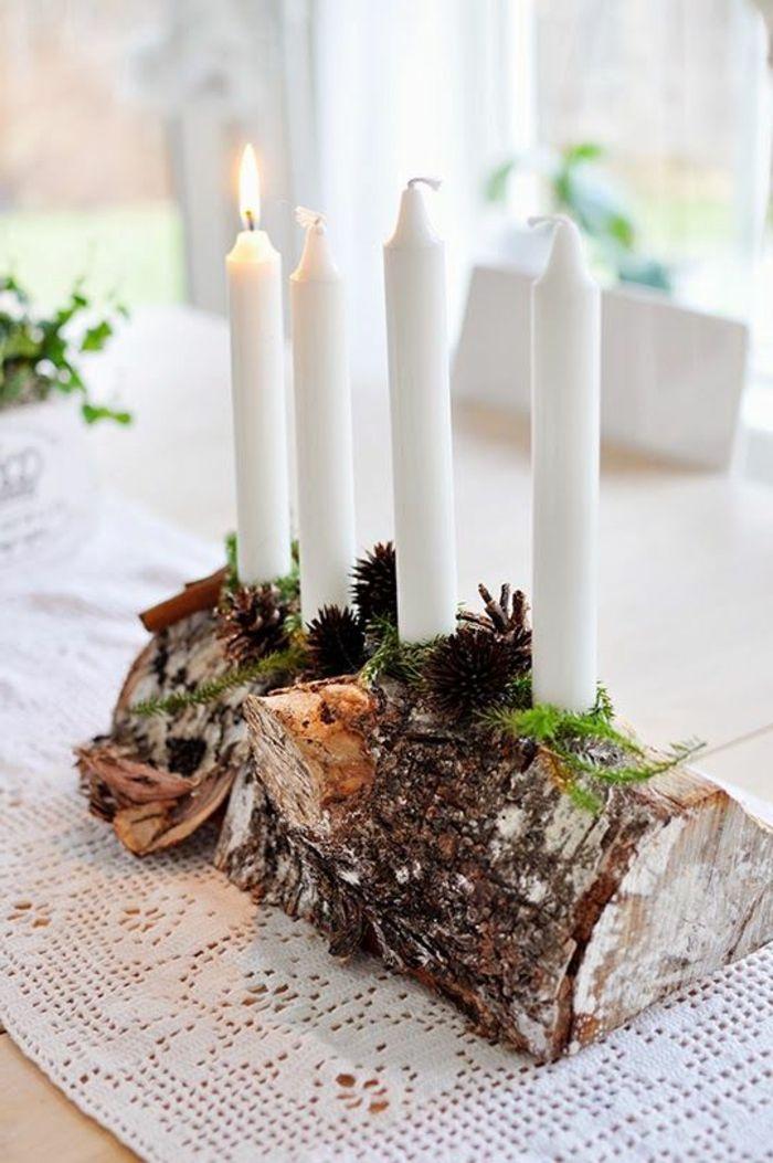 Landhaus-Deko-Tischdekoration-Holz-Kerze-Weihnachtsdeko