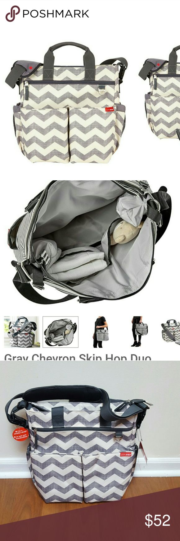 """Skip Hop chevron diaper bag *NWT*SKIP*HOP Duo Signature Diaper Bag is the revolutionary bag with so many organizational options that it became a must-have for parents: -10 storage pockets -2 elasticized, mesh side pockets for bottles -Front zip pocket for easy access to your phone -Changing pad -Measures 13.75"""" H x 13.0"""" W x 4.25"""" D Skip Hop Bags Baby Bags"""