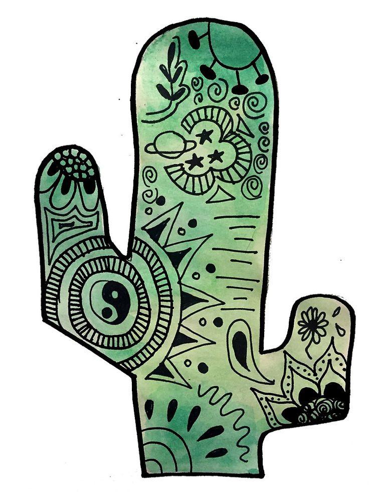 Funky Watercolor Cactus Zentangle by alexavec