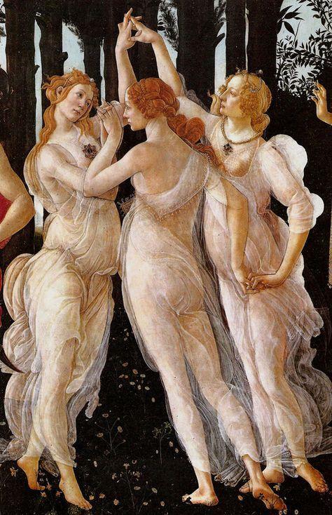 Sandro Botticelli, Primavera, particolare delle tre Grazie: Talia la prosperità, Eufrosine la gioia e Aglaia lo splendore