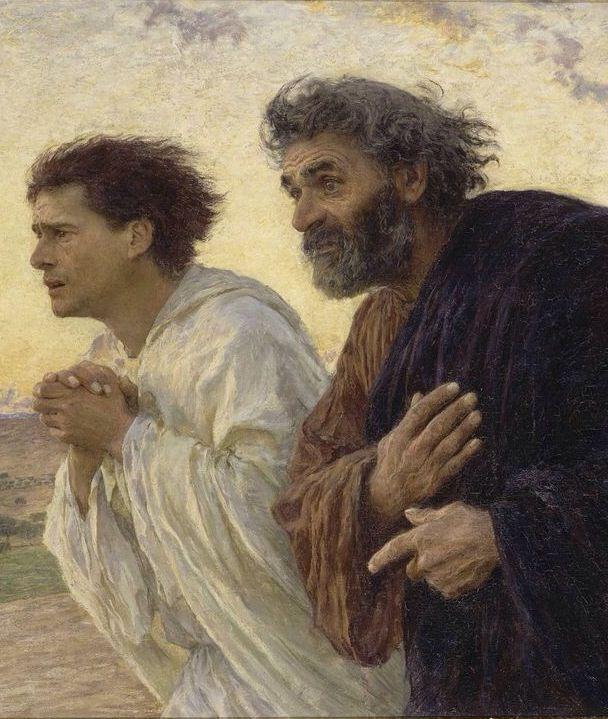 Pedro y Juan corren al sepulcro.  Eugene Burnand 1898.