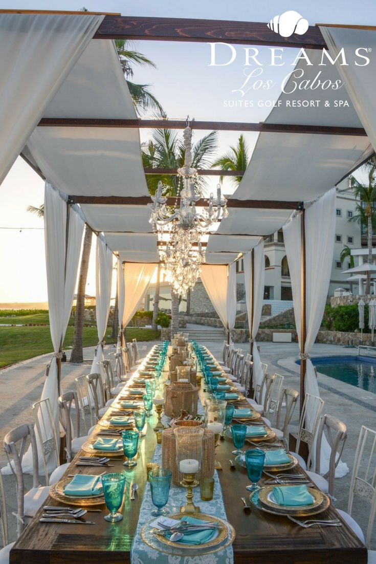 all inclusive beach wedding destinations%0A A beautiful wedding dinner awaits at Dreams Los Cabos  Take a seat at the  table and enjoy the lovely evening