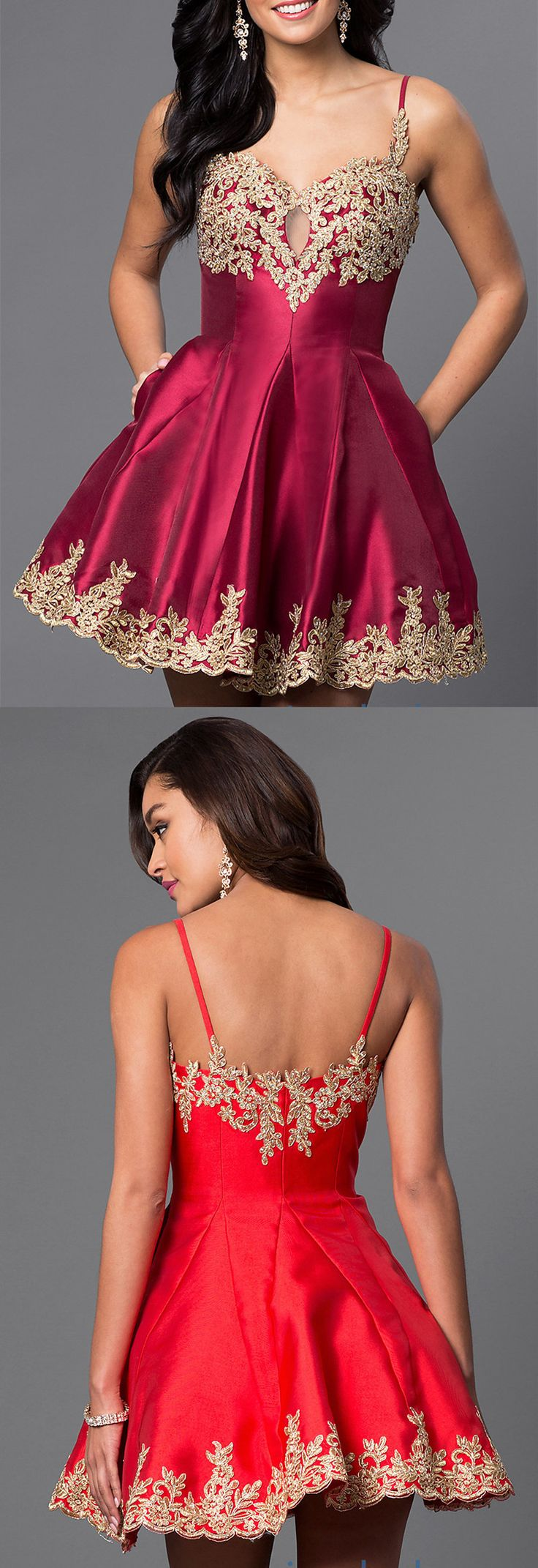 Gold Applique Homecoming Dresses with Pocket Short A line Prom Gowns