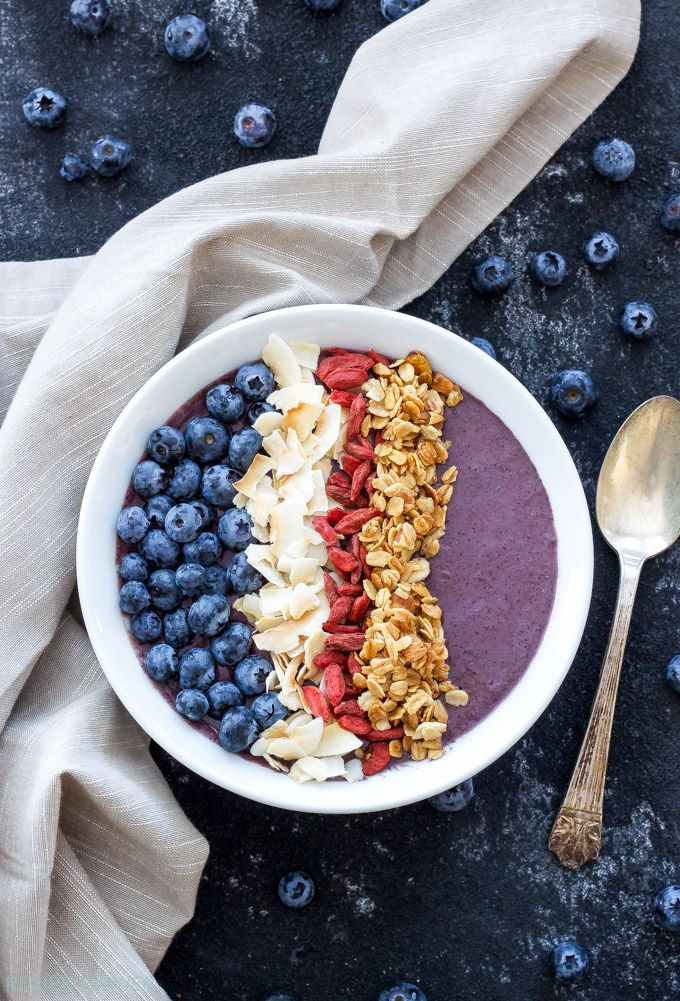 Blueberry Power Smoothie Bowl   Loaded with protein and superfoods this Blueberry Power Smoothie Bowl is a hearty and healthy way to start the day!