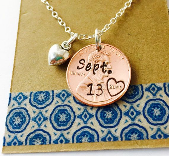 Anniversary Date Hand Stamped Penny Necklace by UniquelyImprint