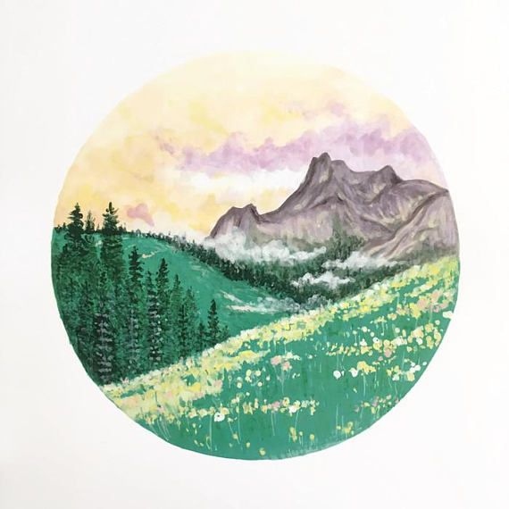 Forest Print, Nature Print, Mountain Art, Forest Art, Nature Art, Forest Painting, Landscape Painting, Tree Art, Mountain Painting, Meadow