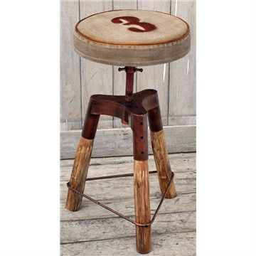 Hamilton Hand Crafted Industrial Iron and Timber Bar Stool with Canvas Seat