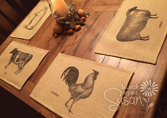 Farm Animal Placemats of Natural Burlap or by EuroCountryChic
