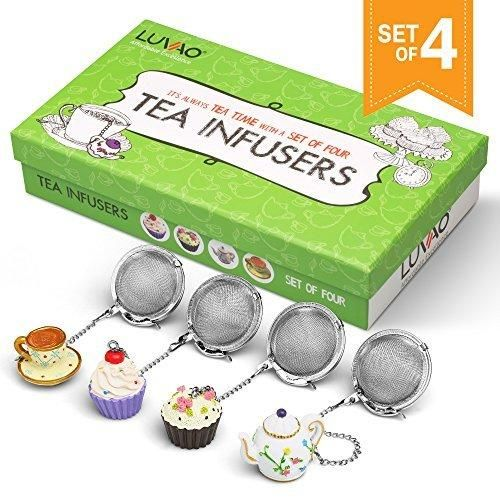 Loose Leaf Tea Infuser (Set of 4) - Tea Ball Food Grade Stainless Steel - With Cute Hand Painted Charm - Make Your Perfect Cup of Tea
