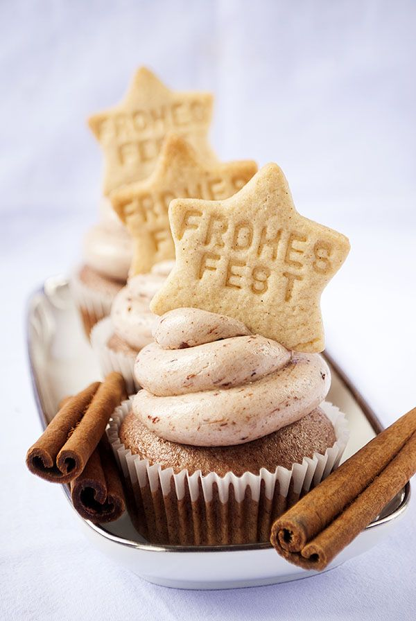 Cinnamon Cupcakes with Plum Swiss Meringue Buttercream Frosting