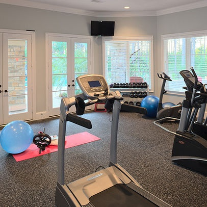 i like this pale blue paint color for the home gym