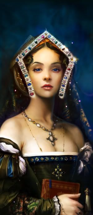 supposed to be Anne Boleyn; eyes are wrong, dress is wrong.  But pretty picture!