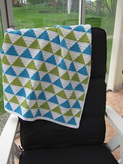 Crochet baby blanket with triangles all over.