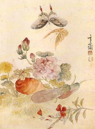 (Korea) Flower & Vegetables & Butterflies by Sim Sa-jeong (1707-1769). Joseon Kingdom, Korea. 심사정 꽃과 채소와 나비