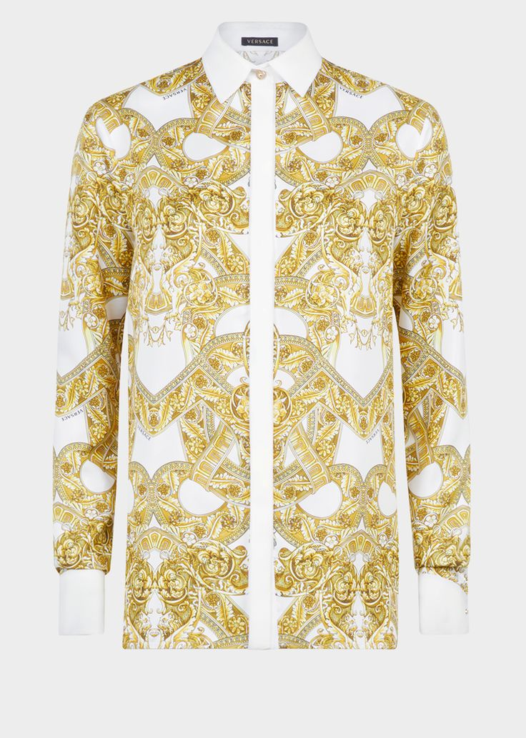 Versace Barocco Istante Silk Shirt for Women | UK Online Store. Barocco Istante Silk Shirt from Versace Women's Collection. Long sleeve, silk print, button-up, collared shirt featuring an iconic Barocco print inspired by the French Baroque era.