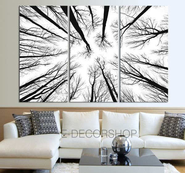 Large Wall Art Canvas Prints - Dry Tree Branches Wall Art - Forest .