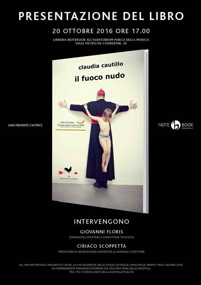 Locandina della presentazione del romanzo alla libreria Notebook dell'Auditorium Parco della Musica di Roma