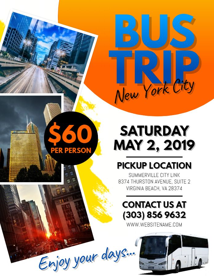 City Bus Trip Flyer Social Media Graphic Design Template Travel