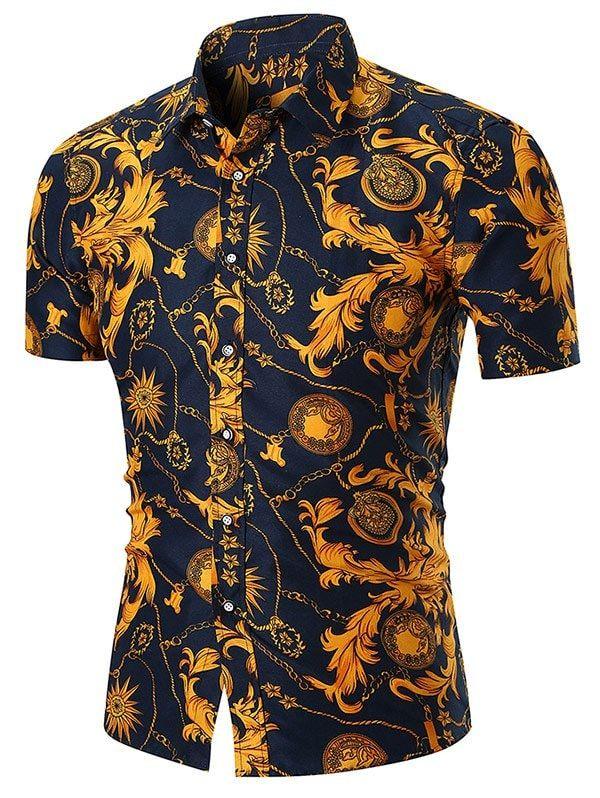cfc69f7abc2 Retro Floral Chain Print Button Up Shirt - GOLD 2XL