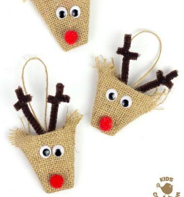 Easy DIY burlap reindeer ornament - Christmas craft for kids // Zsákvászon rénszarvas - egyszerű karácsonyfadísz gyerekeknek // Mindy - craft tutorial collection // #crafts #DIY #craftTutorial #tutorial #SantaCrafts #Santa #ChristmasCrafts #Mikulás #Télapó