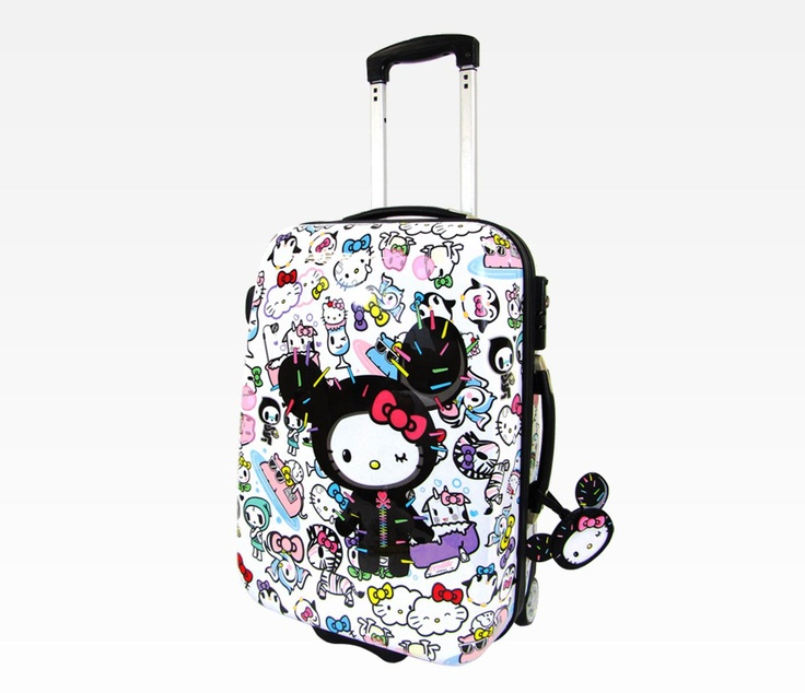 "$280 - Sanrio and Tokidoki team up for the new exclusive limited edition Best Friends Collection featuring Hello Kitty dressed up as Sandy hanging out with her new best friends. This supercute rolling luggage features a hard exterior shell to protect your contents and comes with a matching tag. See details tab for full list of features.    Specifications:  - 20.5"" x 9"" x 14""  - handle extends up to 18""   - 1 black adjustable strap, 1 mesh pocket, 1 adjustable divider"
