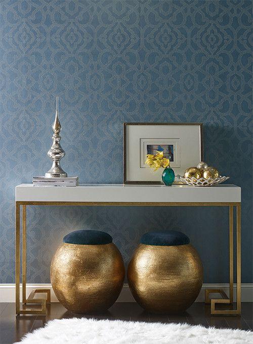 Allure Wallpaper In Dark Blue Design By Candice Olson For York Wallcov