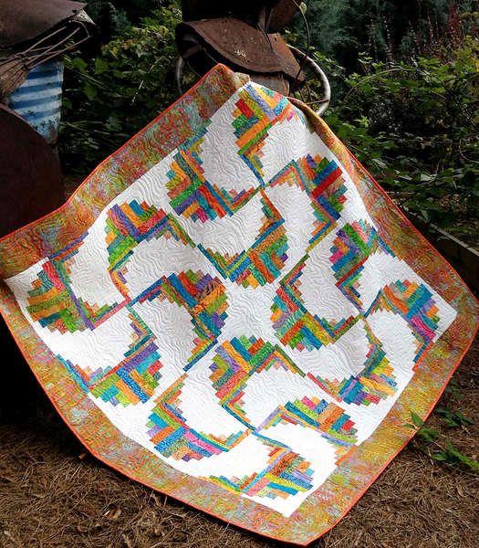 Rainbow Swirls Log Cabin Quilt Pattern by Cut Loos…
